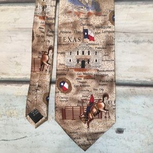Texas Pride State Landmark Cattle Print Neck Tie